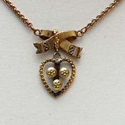 SALE Beautiful Gold Filled Necklace - Heart and Bow Design