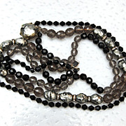 SALE Eugene 3 Strand Necklace - Faux Pearls, Rhinestone and Crystals