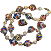 SALE Gorgeous Multi Colored Venetian Beaded Necklace and Earring Set