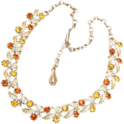 SALE Coro Topaz and Brown Necklace