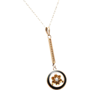 SALE 14kt Enameled Gold and Diamond Pendant