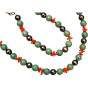 SALE Green Turquoise, Sterling Silver and Branch Coral Necklace