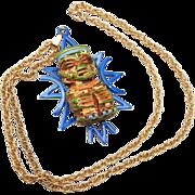 SALE ART Enameled Aztec Designed Necklace