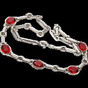 SALE Sterling Red Bezel Set Crystal Necklace