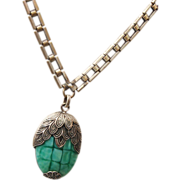 SALE Green Art Glass and Beautiful Square Link Chain Necklace