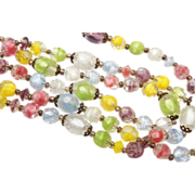 SALE Three Strand Pastel Givre' Glass Beaded Necklace