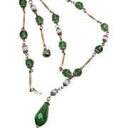 "SALE Green Glass ""Y"" Chain Necklace"