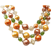 SALE 3 Strand Faux Pearl and Givre' Glass Beaded Necklace