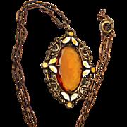 SALE Enameled Brass and Topaz Crystal Necklace