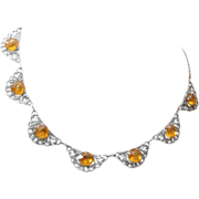 SALE Aluminum and Topaz Crystal Necklace