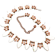 SALE Renoir White Enameled and Copper Necklace