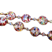 SALE Gorgeous Multi Colored Venetian Glass Necklace