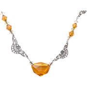 SALE Topaz Crystal and Aluminum Filigree and Paper Clip Chain Necklace