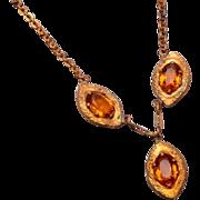 SALE Topaz Rhinestone Drop Necklace