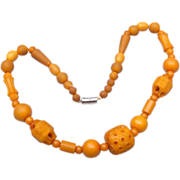 SALE Carved Butterscotch Plastic Beaded Necklace