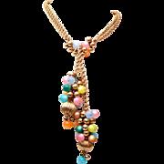 SALE Napier Lucite Pastel Lariat Style Necklace