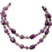 SALE Purple Art Glass, and Rhinestone 2 Strand Necklace