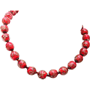 SALE Red Venetian Glass Beaded Necklace