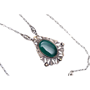 SALE Green Chrysoprase and Marcasite Art Deco Necklace