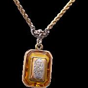 SALE Gold Filled Locket in Topaz Faceted Crystal