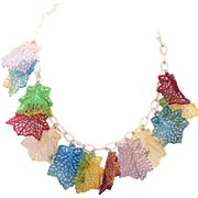 SALE Colorful Curled Leaf Lucite Necklace