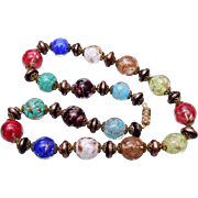 Beautiful and Colorful Murano Venetian Glass Beaded Necklace