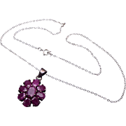 SALE Sterling and Ruby Necklace