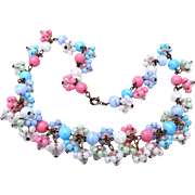 SALE Beautiful Pink, Blue and White Glass Necklace