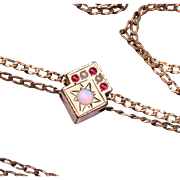 SALE Opal, Ruby and Pearl Antique Gold Filled Slide Necklace