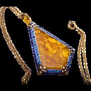 Art Deco Rhinestone Pendant and Necklace