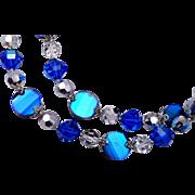 Vendome Blue Crystal 2 Strand Necklace