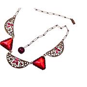 SALE Red Art Deco Rhinestone and Enamel Necklace