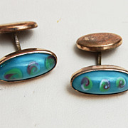 SALE Art Glass and Gold Filled Cufflinks