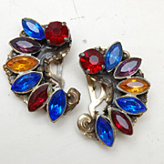 SALE Colorful Pair of Rhinestone Dress Clips
