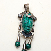 SALE Sterling and Malachite Tribal Face Pendant