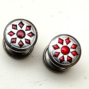 SALE Jem Link Red Celluloid Cuff Links