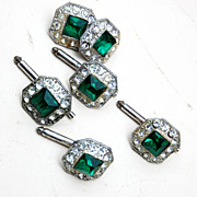 SALE Green Rhinestone Buttons and Cufflink