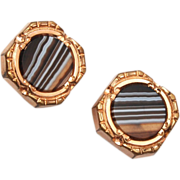 SALE Beautiful Banded Agate Gold Filled Cuff Links 1883