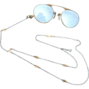"""SALE Beautiful Gold Filled """"Y"""" Chain With Pince Nez Glasses"""
