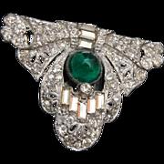 SALE Art Deco Dress Clip - Green Stone
