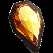 SALE Czechoslovakia Faceted Topaz Crystal Dress Clip