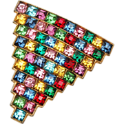 SALE Fabulous Colorful Square Rhinestone Dress Clip