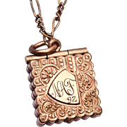 SALE Gold Filled 1892 Locket Etched NAF