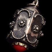 SALE 800 Peruzzi silver and Coral Charm