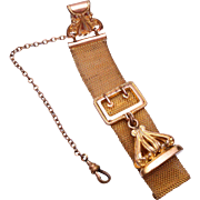 "SALE Gold Filled Watch Chain and Fob Etched ""RFD"""