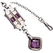 SALE Beautiful Purple Stone Watch Chain and Fob