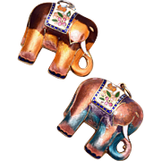 SALE Matching Pair of Enameled Elephant Charms