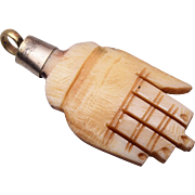 SALE Carved Bone Hand Charm or Pendant
