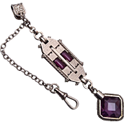 SALE Fabulous Purple Stone and Silver Tone Art Deco Watch Chain and Fob