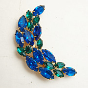 SALE Blue and Green faceted Half Moon Brooch